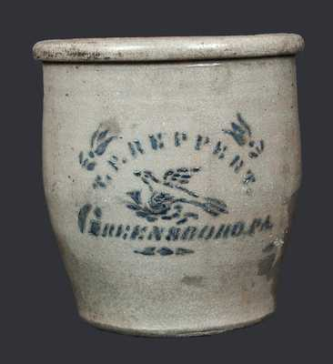 1 Gal. T. F. REPPERT / GREENSBORO, PA Stoneware Cream Jar w/ Stenciled Bird Decoration