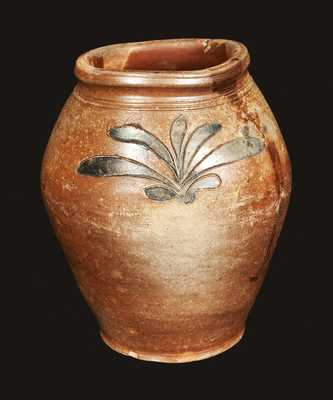 Manhattan, NY Stoneware Jar with Incised Foliate Decoration, attributed to John Remmey III