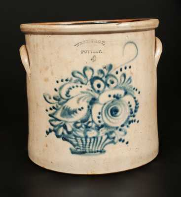 WEST TROY POTTERY Stoneware Crock with Cobalt Flower Basket Decoration.