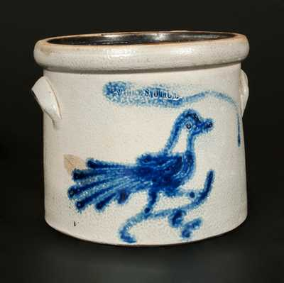 Unusual WHITE'S UTICA Stoneware Crock with Cobalt Bird Decoration, One-Gallon