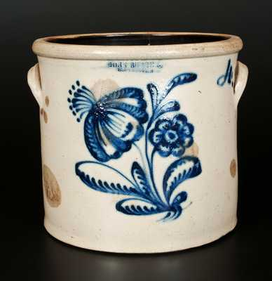 JOHN BURGER / ROCHESTER Stoneware Crock with Elaborate Floral Decoration, Four-Gallon