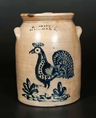 Exceptional C. W. BRAUN / BUFFALO, NY Stoneware Crock with Rooster Decoration