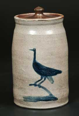 Very Rare Morgantown, WV Stoneware Canning Jar with Bird Decoration