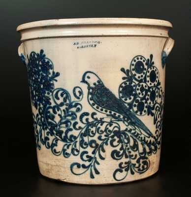 S. D. KELLOGG / WHATELY Stoneware Flowerpot with Elaborate Mourning Dove and Floral Design