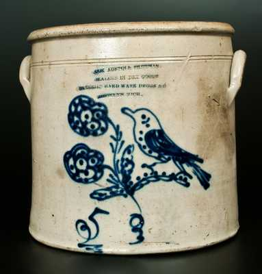 Extremely Rare BROOKLYN, MICHIGAN Stoneware Advertising Bird Crock by S. Hart, Fulton, NY