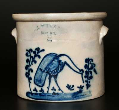Rare 2 Gal. N. A. WHITE & SON / UTICA, NY Stoneware Crock with Great Blue Heron Decoration