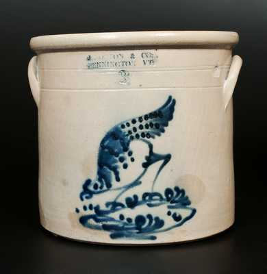 Very Fine 2 Gal. J. NORTON & CO. / BENNINGTON, VT Stoneware Chicken Pecking Corn Crock