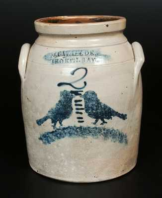 Rare 2 Gal. J. C. WAELDE / NORTH BAY Stoneware Jar with Double Birds Decoration