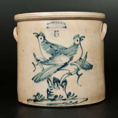 5 Gal. HAXSTUN & CO. / FORT EDWARD, NY Stoneware Crock with Double-Bird-on-Stump Decoration
