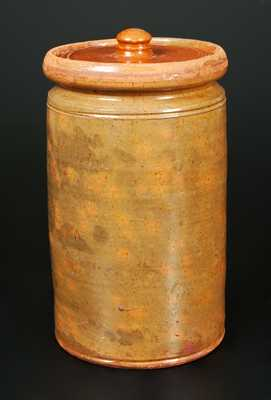 Galena, IL Tall and Narrown Lidded Redware Jar