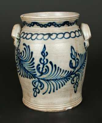 Monumental B. C. MILBURN / ALEXA. Handled Stoneware Jar w/ Elaborate Slip-Trailed Decoration