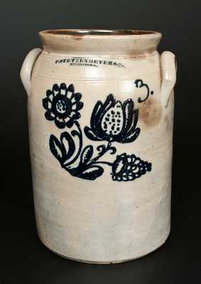 F. STETZENMEYER & CO. / ROCHESTER, NY Crock w/ Elaborate Triple Floral Decoration