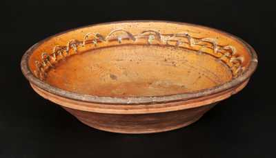 Slip-Decorated Redware Bowl, possibly Hagerstown, MD, circa 1800-1830