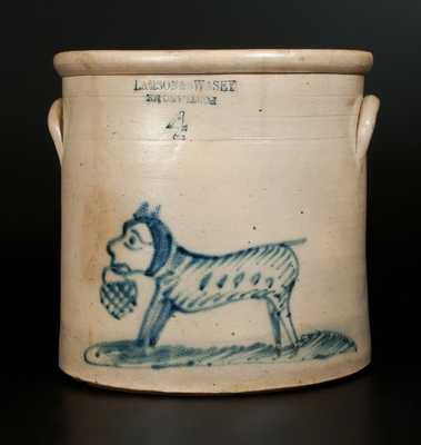 4 Gal. LAMSON & SWASEY / PORTLAND,ME Stoneware Crock with Unusual Dog-and-Basket Decoration
