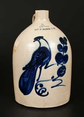 2 Gal. N. A. WHITE & SON / UTICA, NY Stoneware Jug w/ Paddletail Bird and Upside-Down Maker's Mark