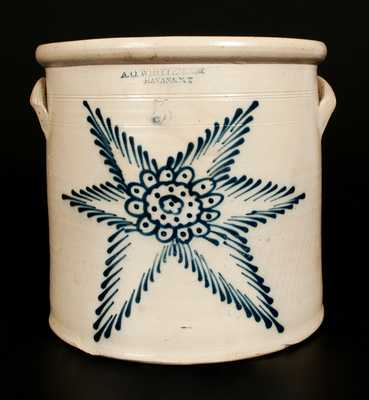 5 Gal. A. O. WHITTEMORE / HAVANA, N.Y. Stoneware Crock with Floral and Starbust Decoration