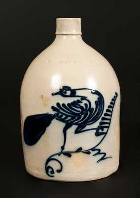 1 Gal. N. A. WHITE & SON / UTICA, NY Stoneware Jug with Bold Slip-Trailed Bird Decoration