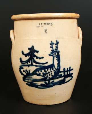 3 Gal. J. & E. NORTON / BENNINGTON, VT Stoneware Crock with Reclining Deer, Fence, and Tree Decoration
