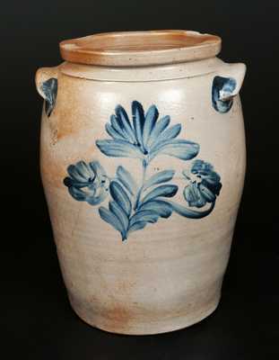 Ovoid Stoneware Crock with Stylized Floral Decoration