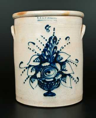 Possibly Unique E. & L. P. NORTON / BENNINGTON, VT 8 Gal. Stoneware Crock with Bright Floral Compote Decoration