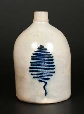 1 Gal. N. A. WHITE & SON / UTICA, NY Stoneware Jug with Slip-Trailed Decoration