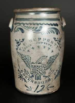 12 Gal. T. F. REPPERT / EAGLE POTTERY / GREENSBORO, PA Stoneware Eagle Crock