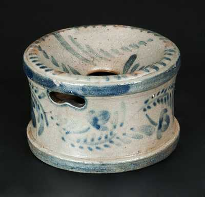 Small-Sized Western PA Stoneware Spittoon with Elaborate Brushed Floral Decoration
