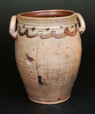 Stoneware Crock with Loop Handles and Manganese Decoration, New Jersey or Manhattan, early 19th century