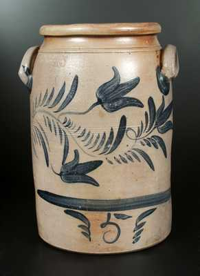 Rare 5 Gal. A & W BOUGHNER / GREENSBORO, PA Stoneware Crock with Brushed Tulip Decoration