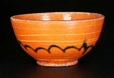 Small Redware Bowl with Yellow and Green Slip Decoration, early 19th Century