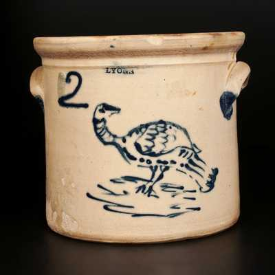Very Rare LYONS 2 Gal. Stoneware Crock with Slip-Trailed Turkey Decoration