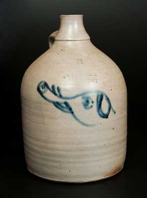 Very Rare S.B. BOSWORTH / HARTFORD, CT 2 Gal. Stoneware Jug with Slip-Trailed Elephant's Head