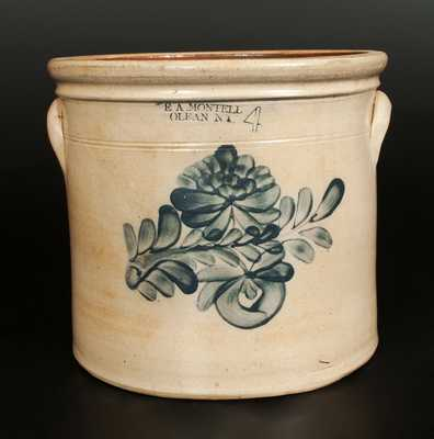 E.A. MONTELL / OLEAN, NY 4 Gal. Stoneware Crock with Floral Decoration