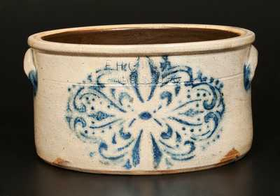 F.H. COWDEN / HARRISBURG, PA Stoneware Cake Crock with Stenciled Decoration