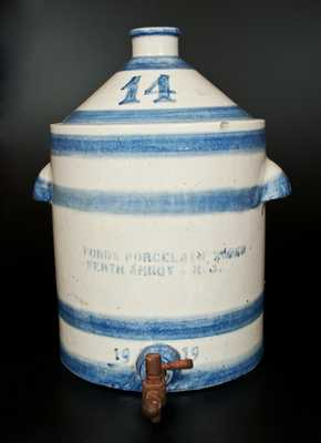 Unusual Monumental Banded 14 Gal. Water Cooler, FORD'S PORCELAIN WORKS / PERTH AMBOY, NJ / 1919