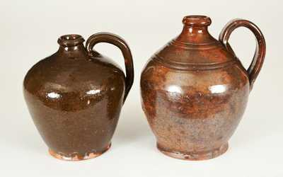 Lot of Two: Ovoid Redware Jugs