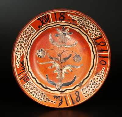 Important Slip-Decorated Redware Dish attrib. Peter Bell, Hagerstown, MD, pictured in Rice & Stoudt