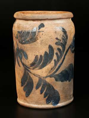 Rare J. BLACK / ALEXA, D.C 1 Gal. Stoneware Crock with Elaborate Brushed Floral Decoration