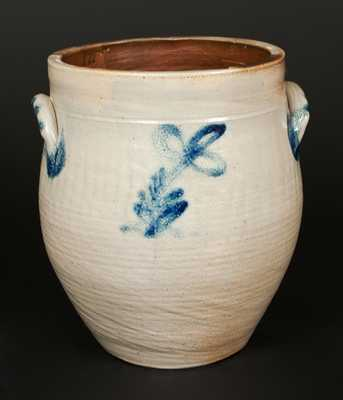 Unusual New Jersey Stoneware Jar with Incised Floral Decoration, circa 1830