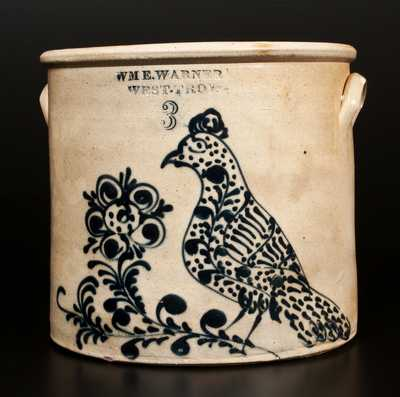 Outstanding WM. E. WARNER / WEST TROY Stoneware Bird Crock w/ Elaborate Design