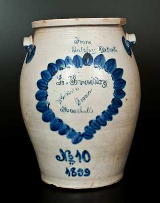 1859 Theodore Balsley, Detroit, Michigan, Stoneware Jar w/ Marshall, MI Advertising
