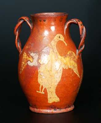 Redware Eagle Vase, attrib. John Betts Gregory, Clinton, Oneida County, NY