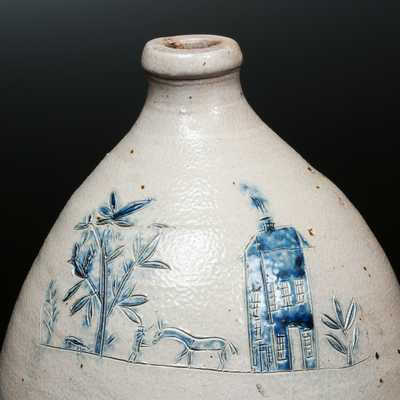 Very Unusual Ovoid Stoneware Jug with Incised House, Man, Horse and Tree Scene