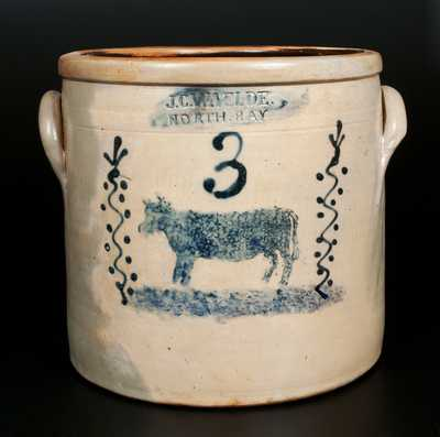 Rare J. C. WAELDE / NORTH BAY 3 Gal. Stoneware Crock with Cow Decoration