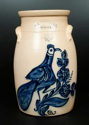 Exceptional N. A. WHITE & SON / UTICA, NY Stoneware Churn with Elaborate Paddletail Bird Decoration