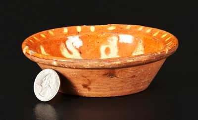 Very Rare Diminutive Redware Bowl with Yellow-Slip Floral Decoration