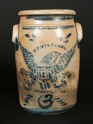 3 Gal. R. T. WILLIAMS / NEW GENEVA, PA Stoneware Jar with Stenciled Eagle Decoration