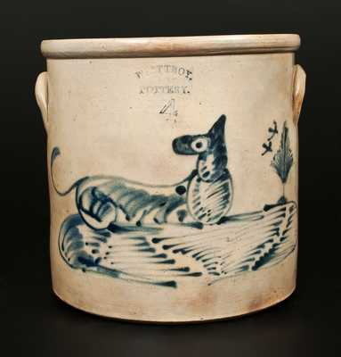 4 Gal. WEST TROY POTTERY Stoneware Crock with Reclining Dog Decoration