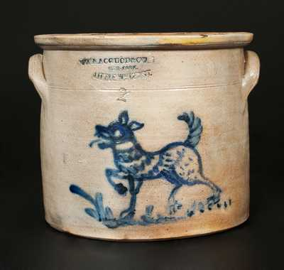 W. A. MACQUOID (New York City) Stoneware Crock with Dog Decoration