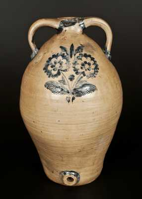 Monumental Stoneware Double-Handled Jug Cooler with Elaborate Incised Floral Decoration, New York, c1820